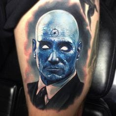 Amazing work on this Doctor Manhattan tattoo by Paul Acker