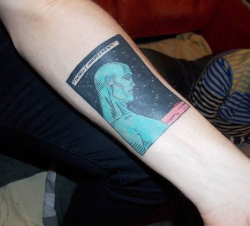 Doctor Manhattan tattoo done by Rude Boy Studios