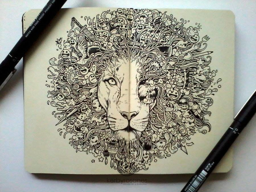 lion drawing kerby rosanes