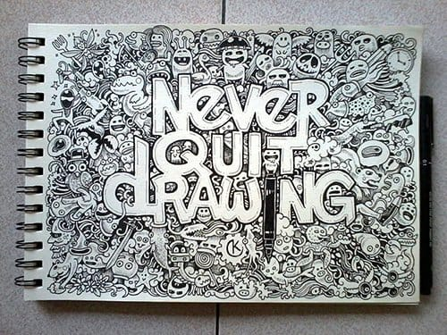 Never quit drawing, Kerby Rosanes art