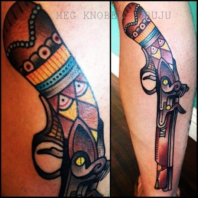 Colorful pistol tattoo Meg Knobel