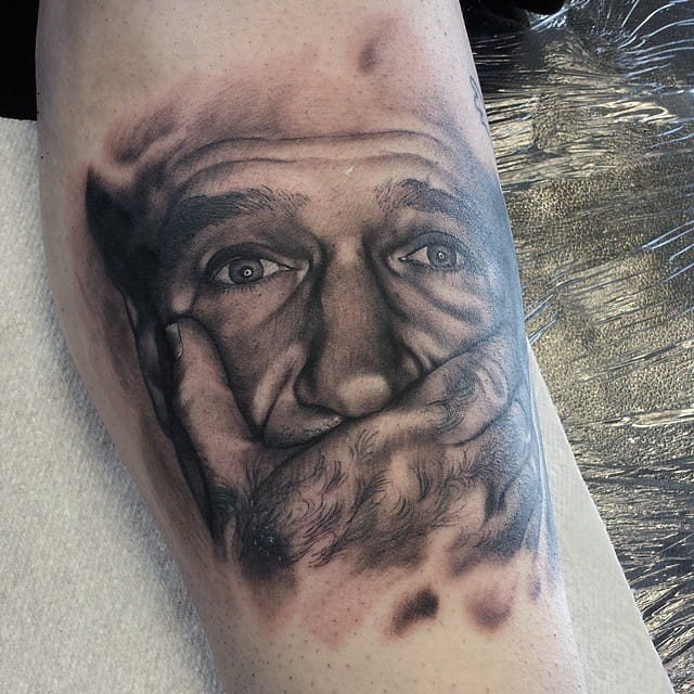 """Robin  Williams Tattoo By Nick Imms, Artist: Nick Imms  """"Reality: What a concept!""""-Robin Williams"""