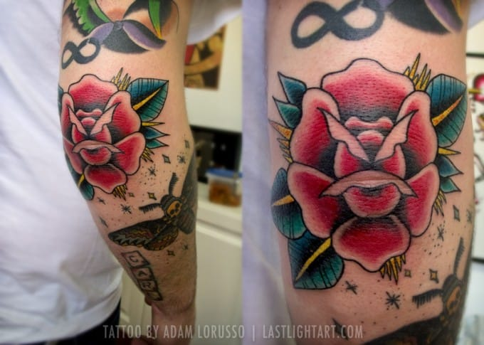 Great work by Adam Lorusso #elbow #elbowtattoo #rose #traditional #traditionalrose #AdamLorusso