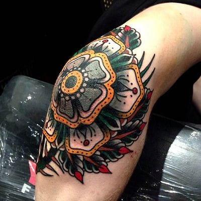 Bold color by Luke Jinks #elbow #elbowtattoo #mandala #color #bold #traditional #LukeJinks
