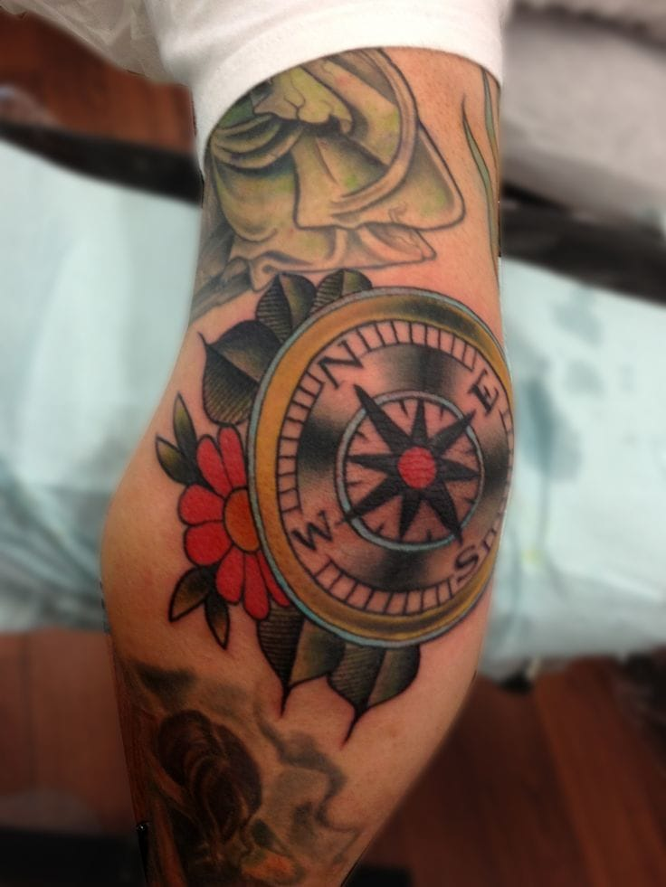 Elbow compass tattoo. Atist unknown #elbow #elbowtattoo #compass #traditional