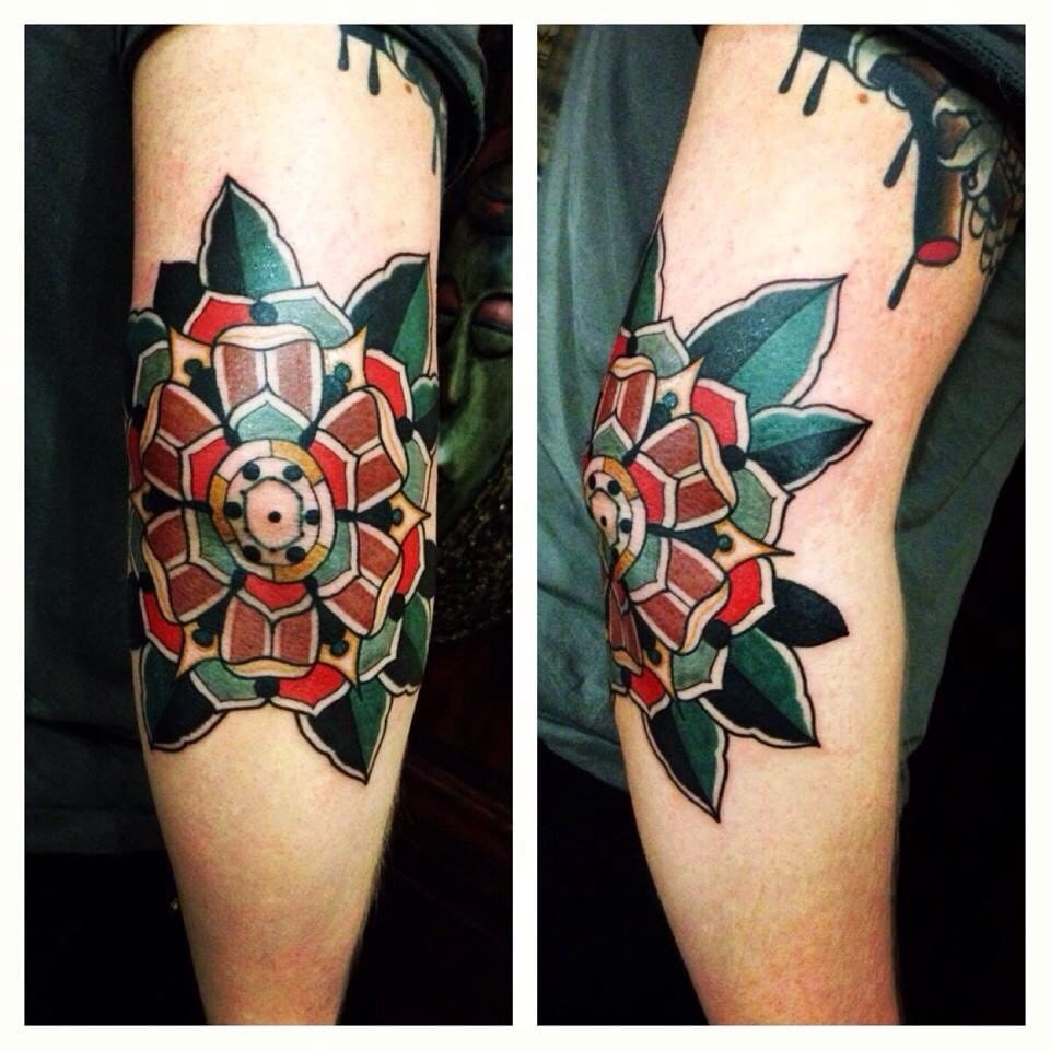 Elbow flower tattoo Aivaras Ly #elbow #elbowtattoo #mandala  #flower #AivarasLy