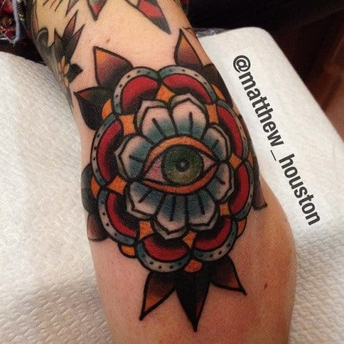 Another great piece by Matthew Houston #elbow #elbowtattoo #mandala #eye #traditional #MattHouston