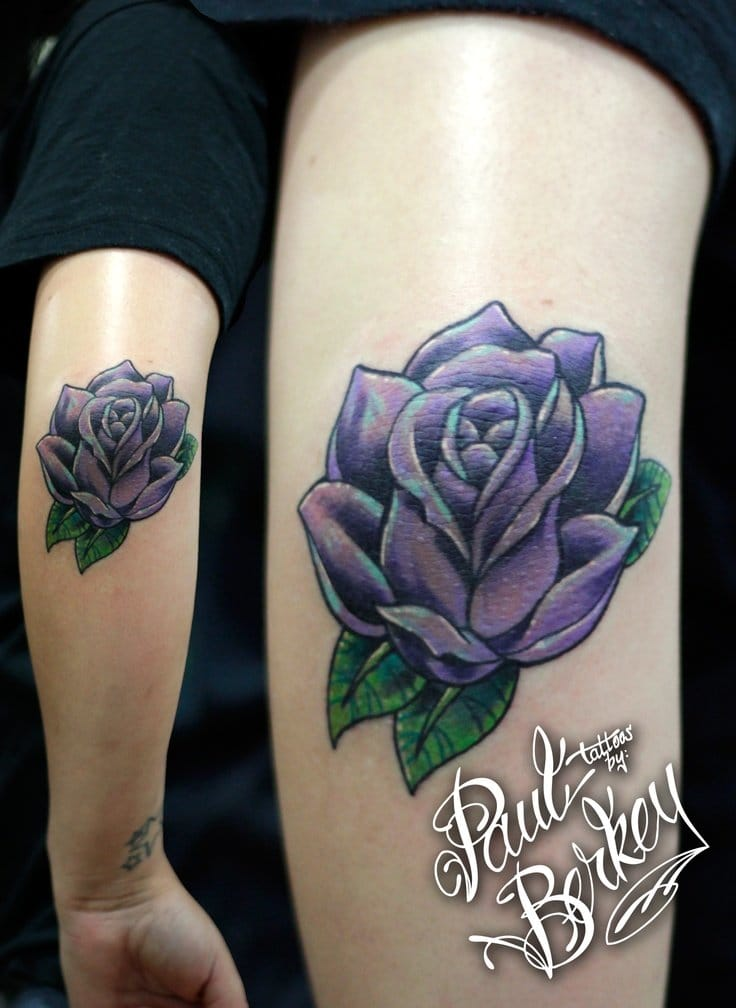 Tattoo purple rose Paul Berkey #elbow #elbowtattoo #rose #rosetattoo #PaulBerkey