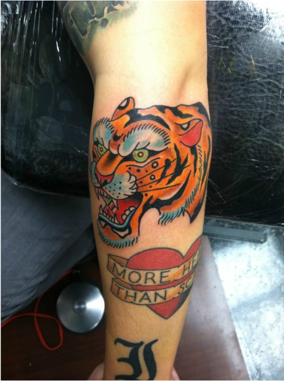 Tiger by Matt Manning #MattManning #tiger #tigertattoo #elbow #elbowtattoo