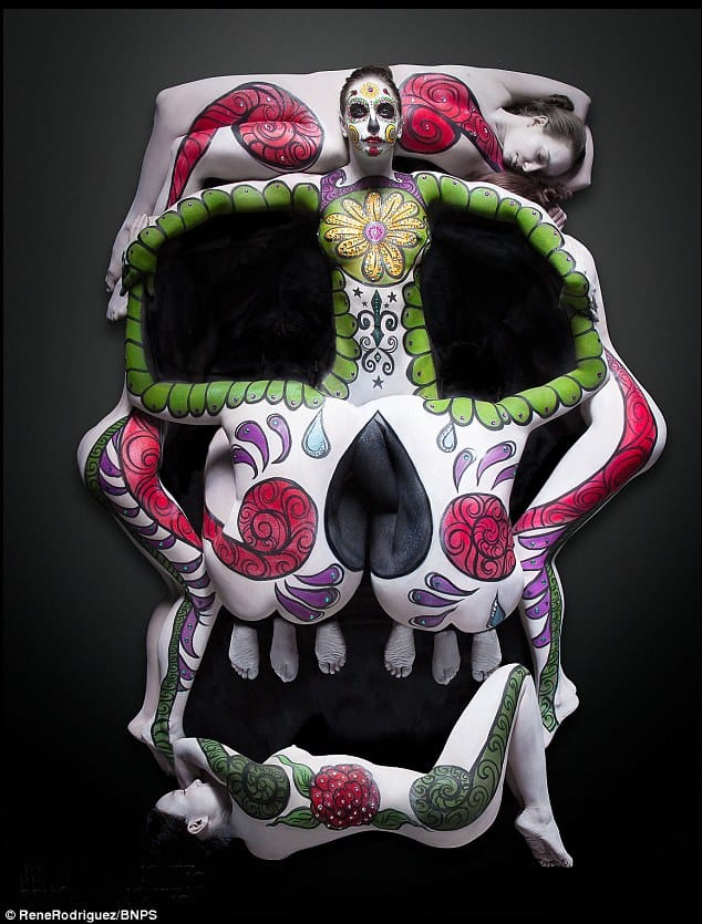 Photographer Creates Amazing Human Sugar Skull!