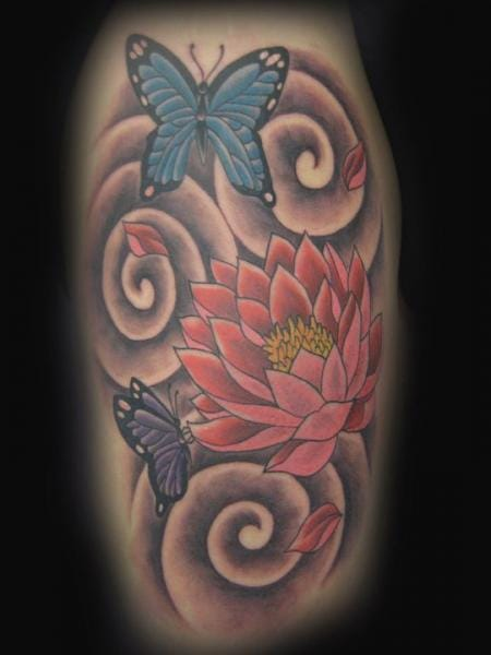 Butterfly Flower Tattoo by Blood Line Tattoos