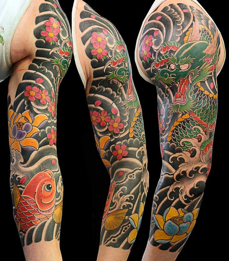 Dragon, Koi And Flowers, Artist Unknown