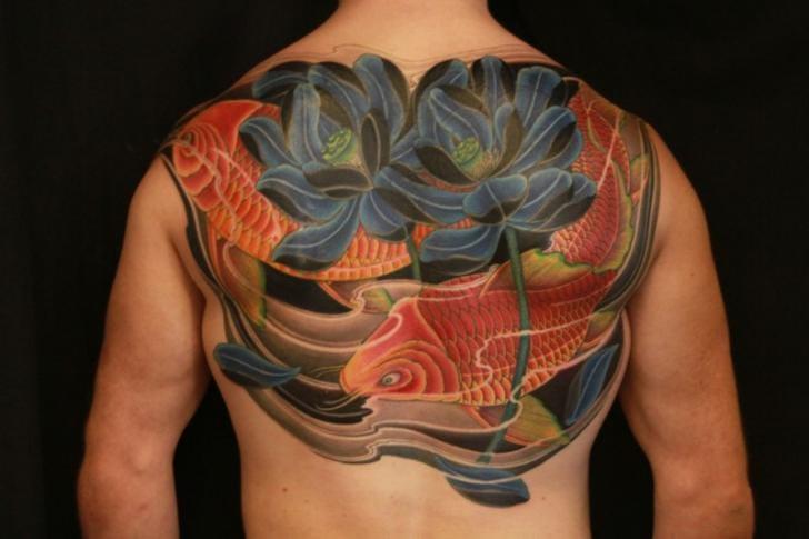 Flower Japanese Koi Tattoo by 1969 Tattoo