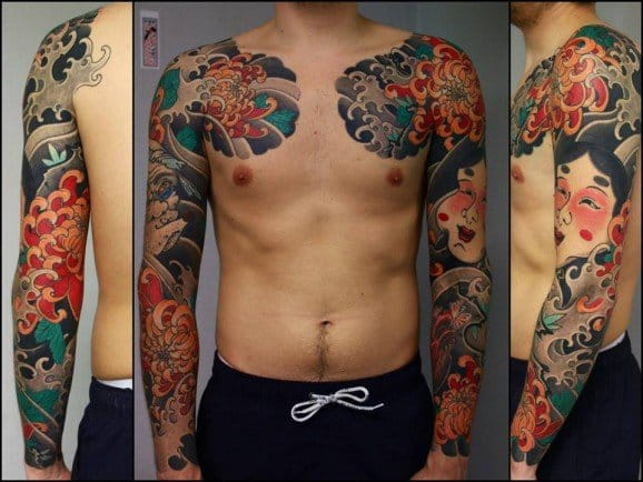 Flowers and wave sleeves by Slava Starkov