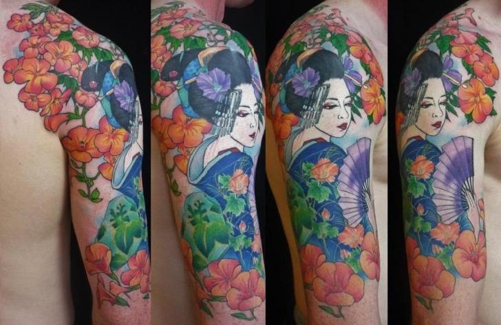 Japanese Geisha Flower Tattoo by Chunkymaymay Tattoo