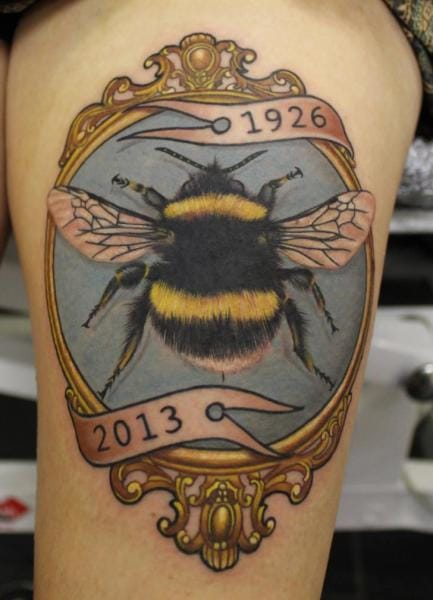 Bee Medallion Tattoo by No Regrets Studios