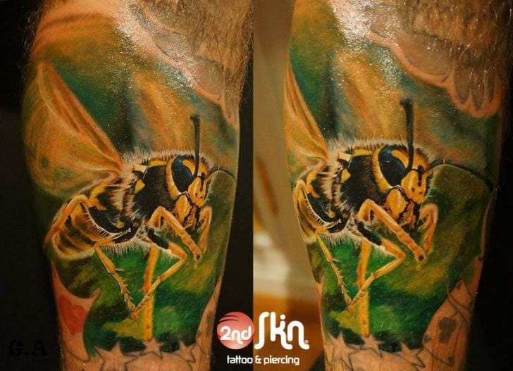 Realistic Bee Tattoo by 2nd Skin