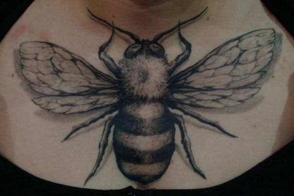 Black and Grey Bee Tattoo by Nephtys de l'Etoile