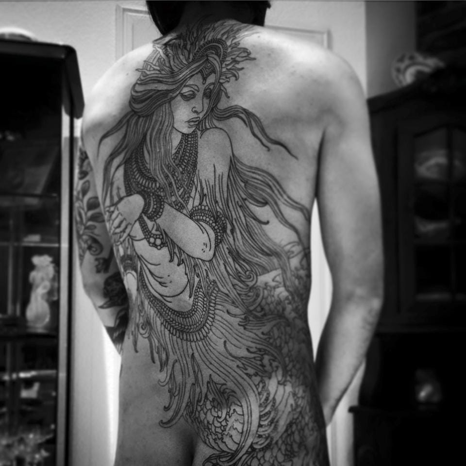 Mermaid backpiece in progress.