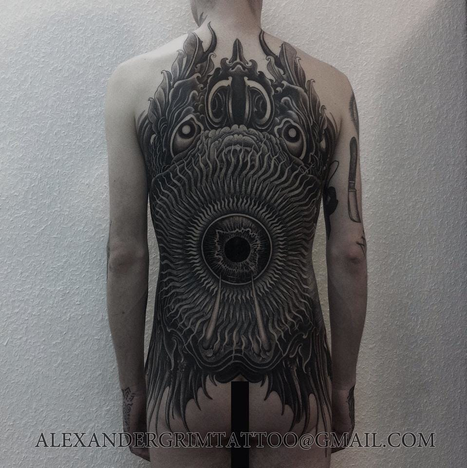 Bold monster backpiece.