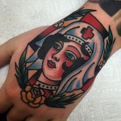 Hand tattoo by Steve Byrne
