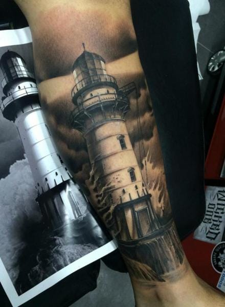 18 Grand Black And Grey Lighthouse Tattoos