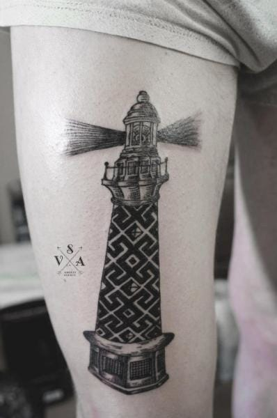 Dotwork Lighthouse Tattoo by Master Tattoo