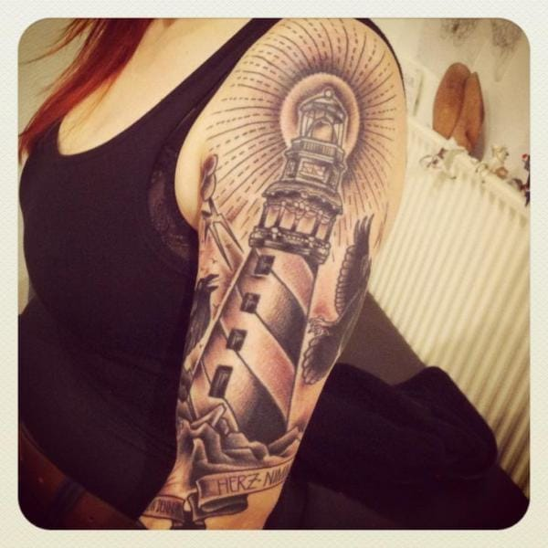 Black and Grey Lighthouse Tattoo, tattoo artist unknown