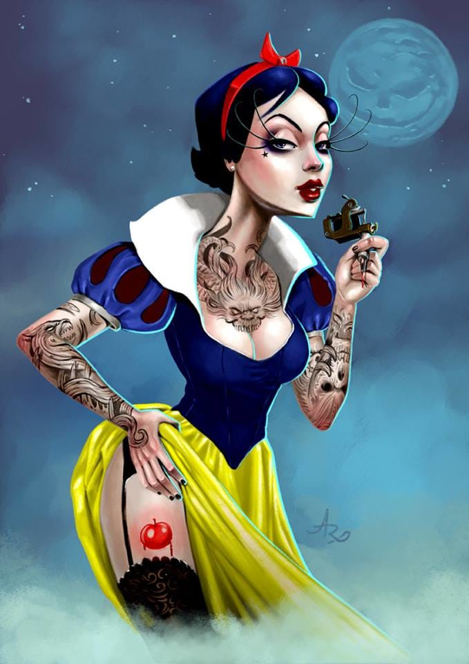 Sexy Snow White tattooist by André Rodriguez.