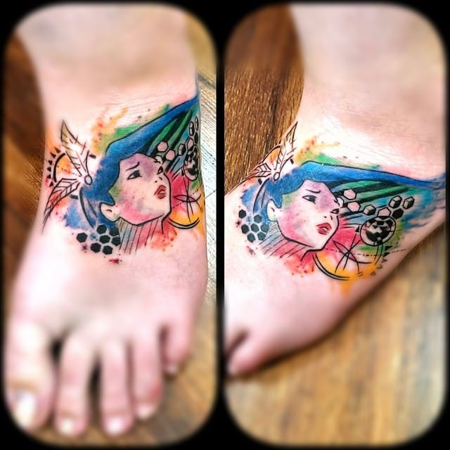 Watercolor on the foot by Torsten Matthes.