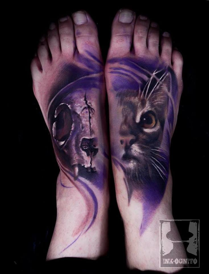 30 Artistically Unconventional Cat Tattoos