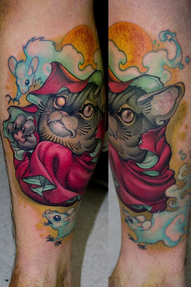 Scary cat tattoo