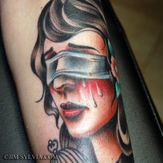 Jim Sylvia did this traditional style tattoo
