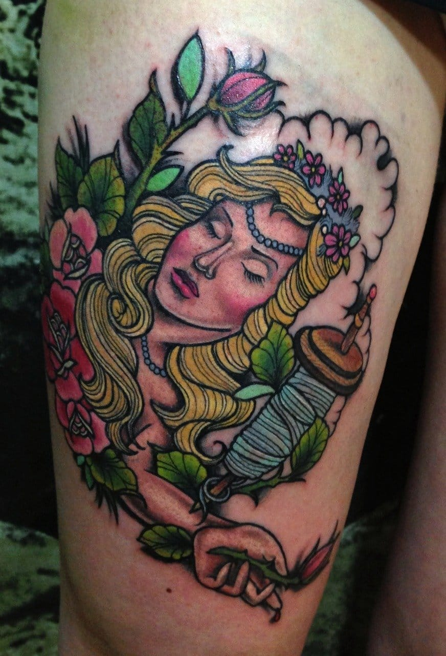She likes needles, not surprising she enjoys tattoos! By Dea Vectorink.