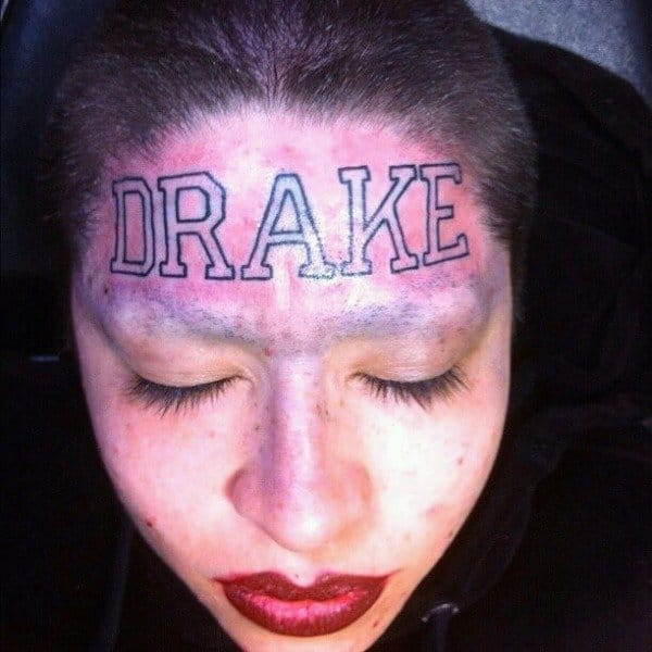 Bad Drake face tattoo