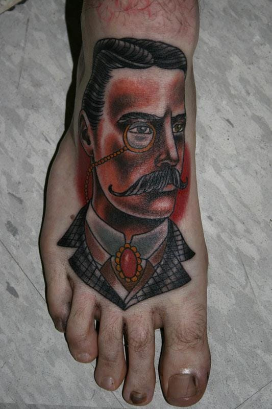 feet tattoo in neo-traditional style by Stefan Johnsson