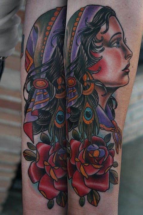 Always love a good gypsy head tattoo! A true classic!