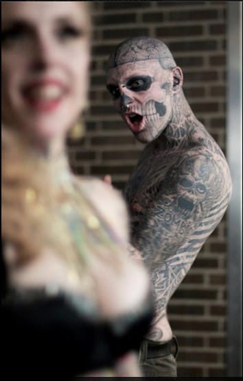 Rick Genest aka Zombie Boy can't repress his feelings while checking out the badass Lucky Hell: WOW!