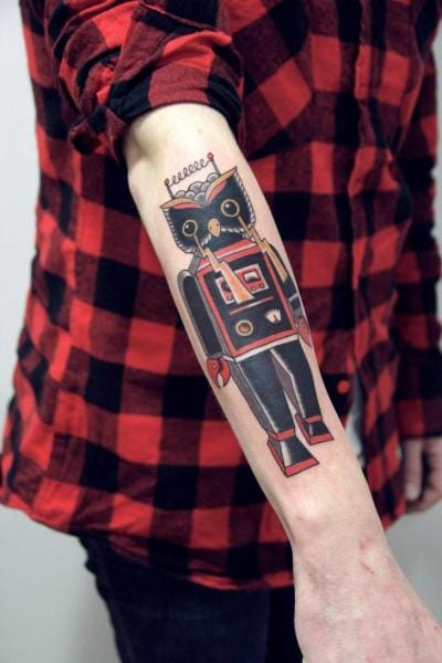Original Owl Robot Tattoo by La Dolores Tattoo
