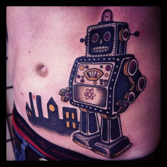 Awesome Robot Tattoo by Matt Cooley