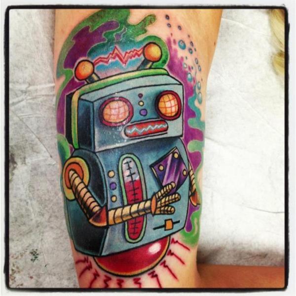 Colorful little robot by Tantrix Body Art