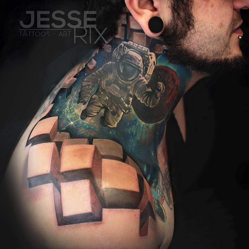 Tattoo by Jesse Rix, Galaxy tattoo