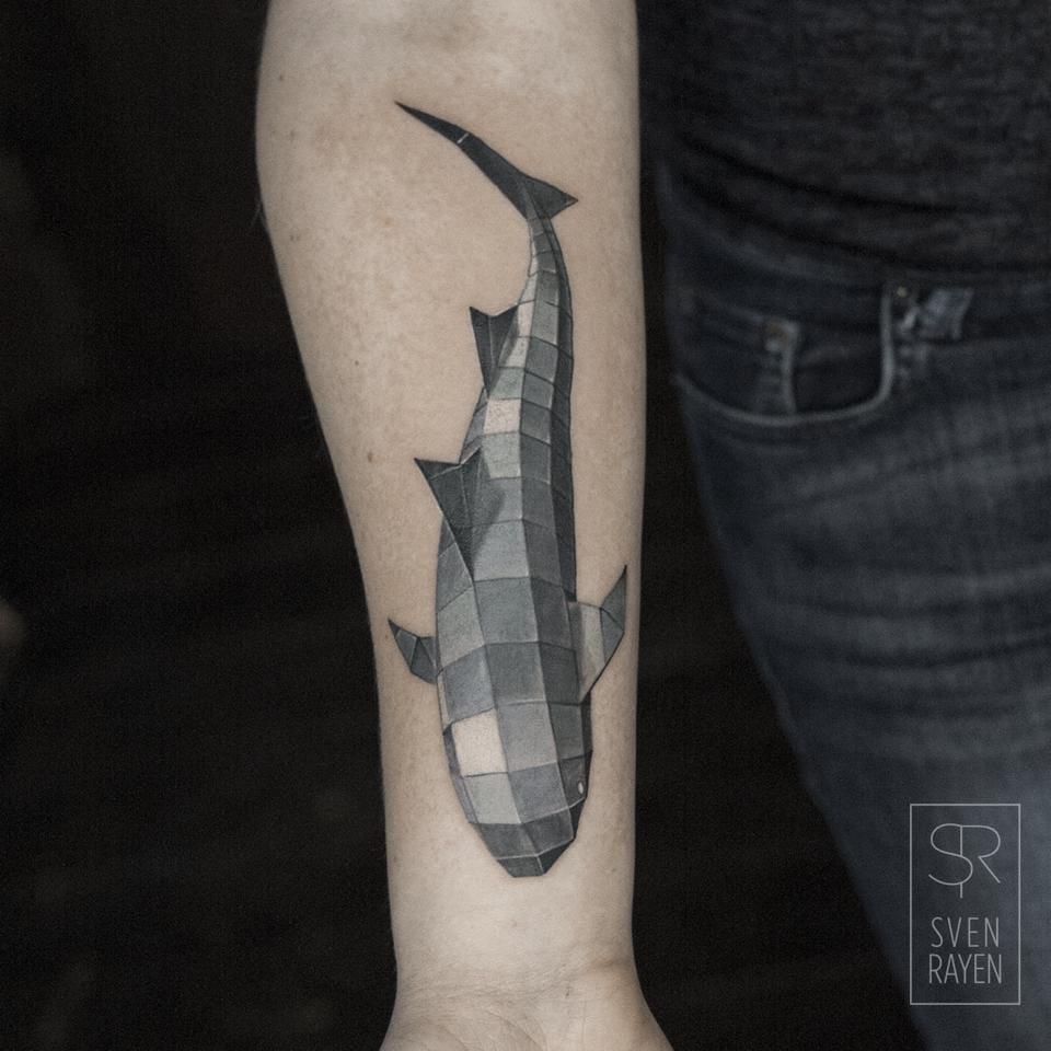Geometric whale tattoo
