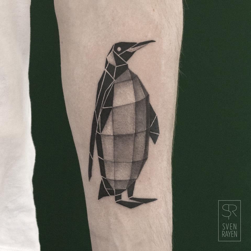 Geometric penguin tattoo