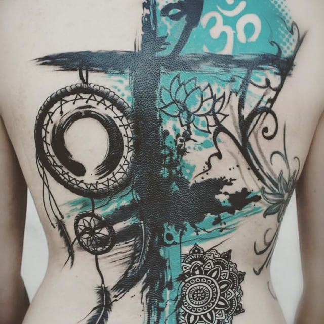 Buddha, Om, lotus, Enso, dream-catcher and mandala in this graphic backpiece by Levy Skin and Art.
