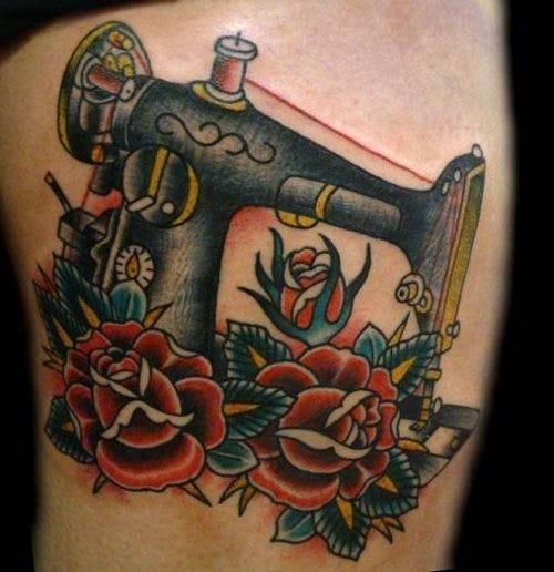 sewing machine tattoo, artist unknown