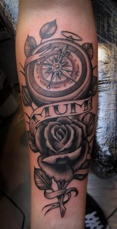 It can also be for the woman who guides us all throughout Life. Love this fine rendition compass tattoo by Tim Hendricks. #compass #woman #love #timhendricks