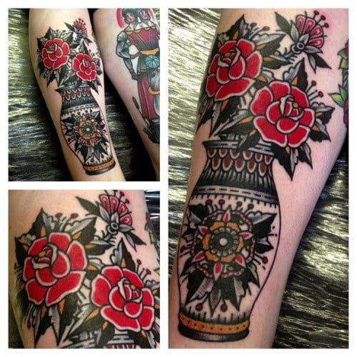 Love the bold red flowers in this by Alex Bage