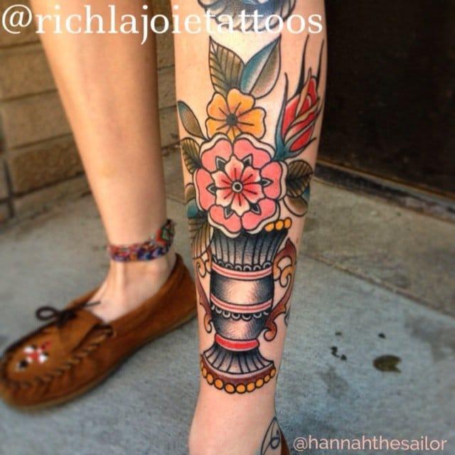Brilliant leg tattoo by Rich Lajoie Tattoo