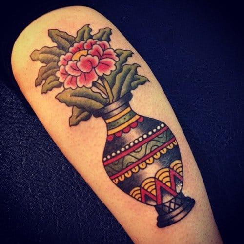Flower Vase Tattoo, artist unknown